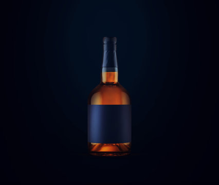 Full whiskey bottle on dark background. Product packaging brand design. Mock up drink with place for you lable and text. Old and tasty scotch whisky against lit background.
