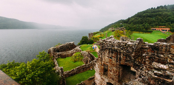 Urquhart Castle on the Shore of Loch Ness, Scotland