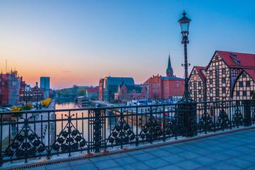 Türaufkleber Stockholm Bydgoszcz old town at amazing sunrise with reflection in Brda river. Bydgoszcz. Poland
