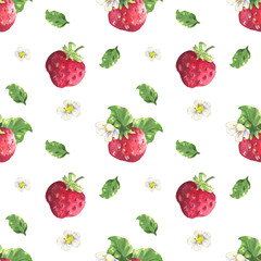Strawberry and flowers pattern