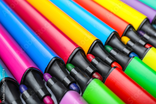 Many colorful markers as background, closeup  Rainbow