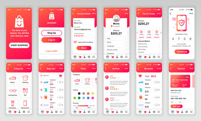 Set of UI, UX, GUI screens Shopping app flat design template for mobile apps, responsive website wireframes. Web design UI kit. Shopping Dashboard.