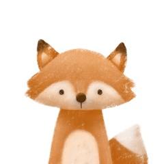 Cute little fox. Kids print or poster. Hand drawn illustration.