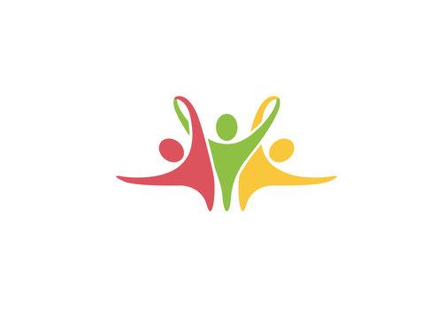 Creative Colorful Three People Logo