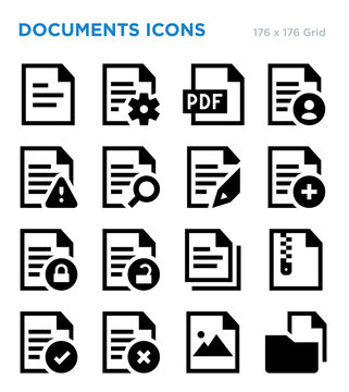 Documents Outline Vector Icon Set