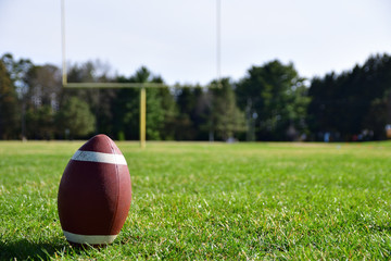 Close-up photo of a football on a sunny day with a goal post, football field and trees in the background
