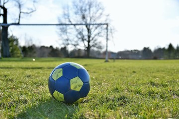Close up of a blue and yellow soccer ball in the springtime with a field and soccer goal in the background