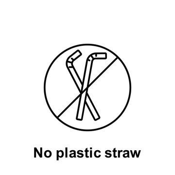 No plastic straw icon. Element of pollution problems icon. Thin line icon for website design and development, app development. Premium icon