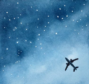 Illustration of plane silhouette in night starry sky. With copy space for text message or motivational quote. Handdrawn watercolour graphic drawing for design, banner, print, greeting card, poster.