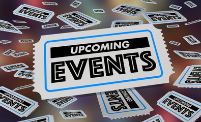Upcoming Events Calendar Schedule Tickets 3d Illustration