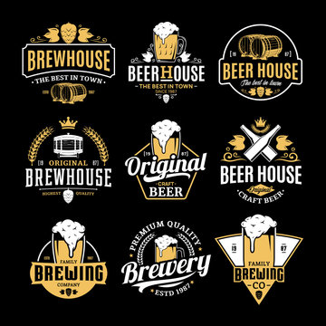 Vector white and yellow vintage beer logo