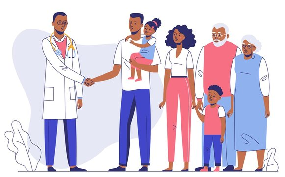 Family doctor concept with ethnic patients. Consultation and diagnosis. Happy african american family mother, father, children, grandfather, grandmother standing together with young black practitioner