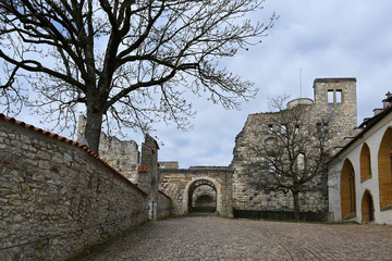 courtyard in the castle ruin Hellenstein on the hill of Heidenheim an der Brenz in southern Germany against a blue sky with clouds, copy space