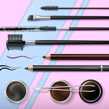 Lash and Brow Bar. Accessories. Make up. Tools for care of the brows. Eyebrows pencil. Angle brush, tweezers and comb. Banner for professional makeup artist. Beauty shop. Vector