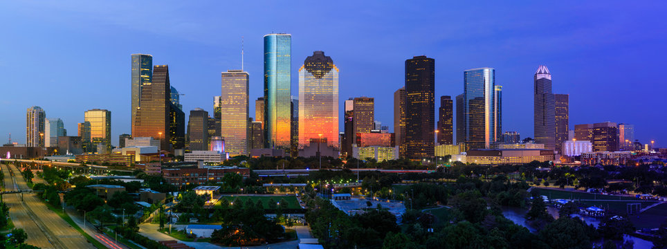 City of Houston Skyline July 4th 2018 with dramatic sunset