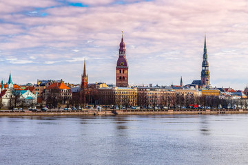 Wall Mural - The historic old part of the city from the Daugava River