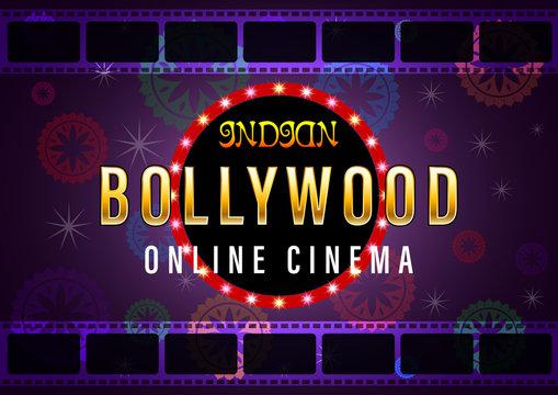 Indian Bollywood Online Cinema Banner for web background design