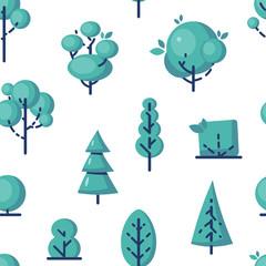 Poster de jardin Oiseaux en cage Simple vector tree icons in flat style