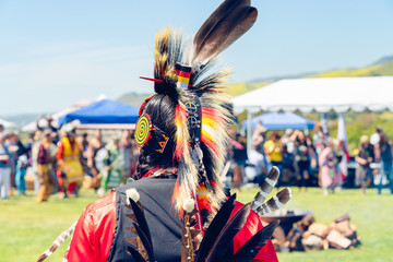 Male Pow Wow dancer in colorful outfits, Pow Wow, Malibu, California