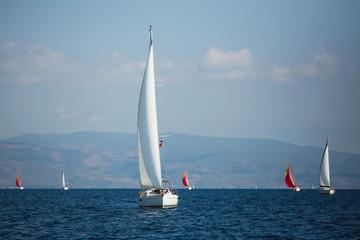 Wall Mural - Sailing yacht boat at the Aegean Sea near Greece coasts.