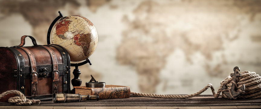 Vintage World Globe, Suitcase, Compass, Telescope, Book, Rope And Anchor With Map Background And Grunge Effect - Travel Concept
