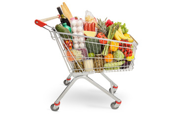 Shopping cart filled with products