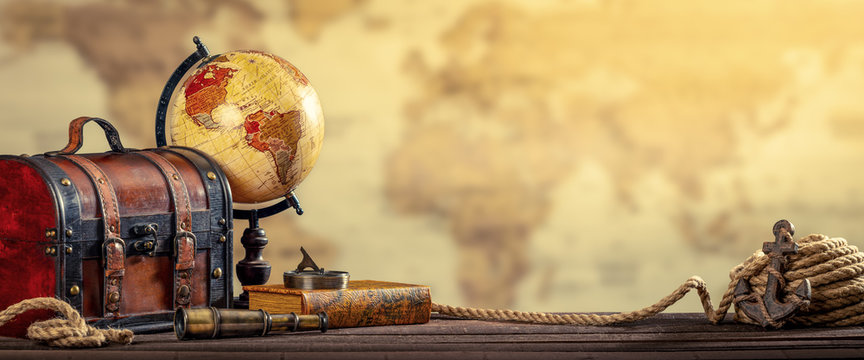 Vintage World Globe, Suitcase, Compass, Telescope, Book, Rope And Anchor With Map Background And Aged Yellowed Effect - Travel Concept