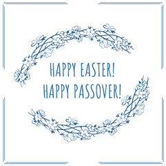Happy easter happy passover with frame of crown of thorns and spring flowers