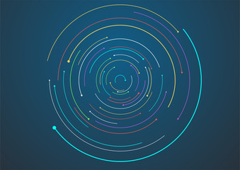 Circular geometric vector background, abstract swirl trails, star trails graphics Wall mural