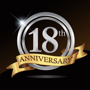18th anniversary logo, with shiny silver ring and gold ribbon isolated on black background. vector design for birthday celebration.