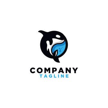orca logo. Killer whale logo