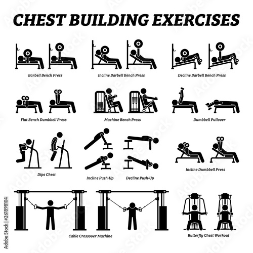 Chest building exercises and muscle building stick figure