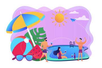 Young tiny people with parasol and ball at the swimming pool have fun drinking wine. Pool party, dance swim drink, swimming pool activity concept. Bright vibrant violet vector isolated illustration