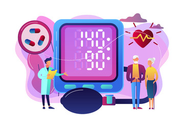 Doctor, elderly couple at tonometer hight blood pressure, tiny people. High blood pressure, hypertension disease, blood pressure control concept. Bright vibrant violet vector isolated illustration