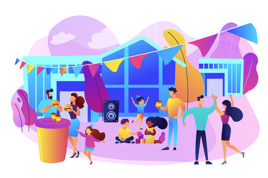Tiny people with kids eating fast food and dancing, enjoying outdoor festival. Street party, pizza city fest, rib food festival concept. Bright vibrant violet vector isolated illustration