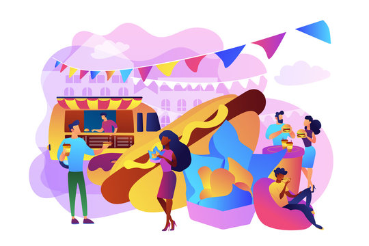 Tiny business people on festival eating hot dogs and burgers bought from truck. Street food, city food truck, street food festival concept. Bright vibrant violet vector isolated illustration