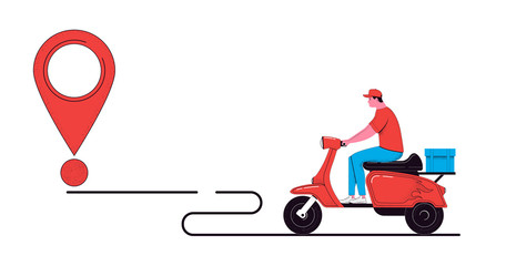 Delivery concept illustration. Courier with path line and point of delivery isolated on a white background. Food service. Vector illustration