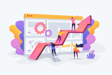 Challenge move for success, confidence winning competition, motivation goals achievement concept. Vector isolated concept illustration with tiny people and floral elements. Hero image for website.
