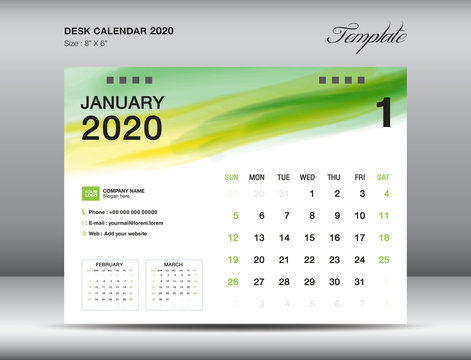 Desk Calendar 2020 template vector, JANUARY 2020 month with green watercolor brush stroke, business layout, 8x6 inch, Week starts Sunday, Stationery design, printing media, publication template