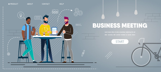 Informal Business Meeting in Cafe Creative Project Wall mural