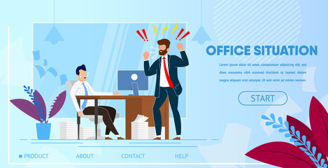 Angry Boss Yelling at Employee Office Worker.