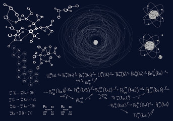 Chemical and physical set of elements on a dark blue background. Formulas and schemes of radioactive