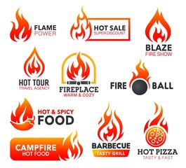 Fire flame icons of campfire, fireball and bonfire