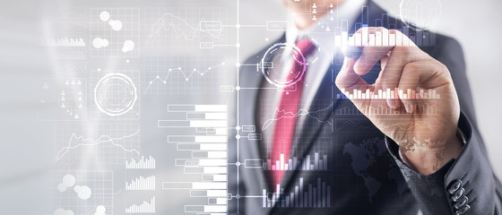 Business intelligence. Diagram, Graph, Stock Trading, Investment dashboard, transparent blurred background. Business banner.