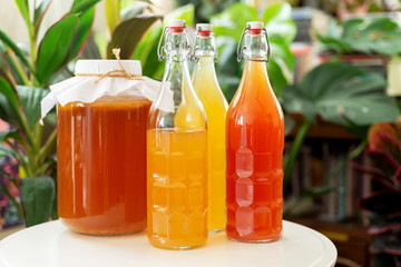 homemade fermented drink kombucha tea healthy natural probiotic in a glass bottle.