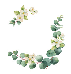 Watercolor vector wreath with silver dollar eucalyptus leaves and flowers.
