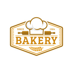 Bakery logo template, vector illustration. Bakery shop emblem, vintage retro style