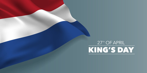 Netherlands happy King's day greeting card, banner with template text vector illustration