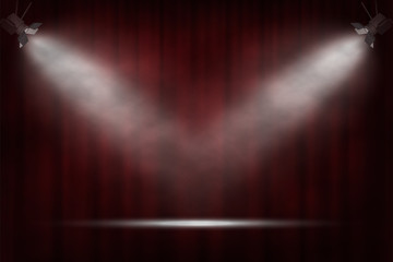 Spotlights on red curtain background. Vector cinema, theater or circus background. Fototapete