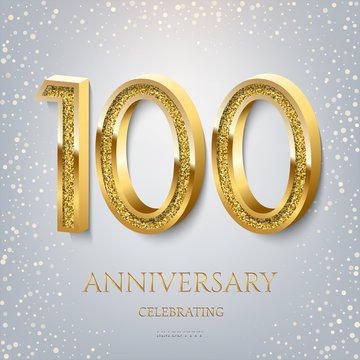 100th Anniversary Celebrating golden text and confetti on light blue background. Vector celebration 100 anniversary event template.